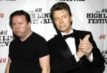 Ricky Gervais reflects on David Bowie's final live performance, introducing him as 'Chubby Little Loser'